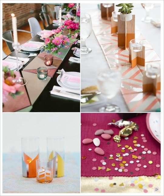 decoration mariage geometrie decoration de table carreau de carelage geométrique photophore en washi tape