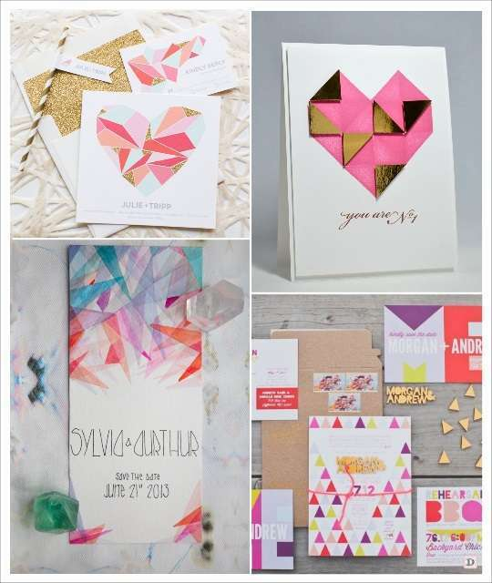 mariage geometrique faire part coeur en origami triangles
