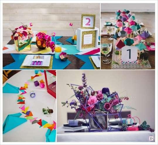 decoration mariage geometrie decoration de table set fleche centre de table polygone  confettis triangles figurines en pailles