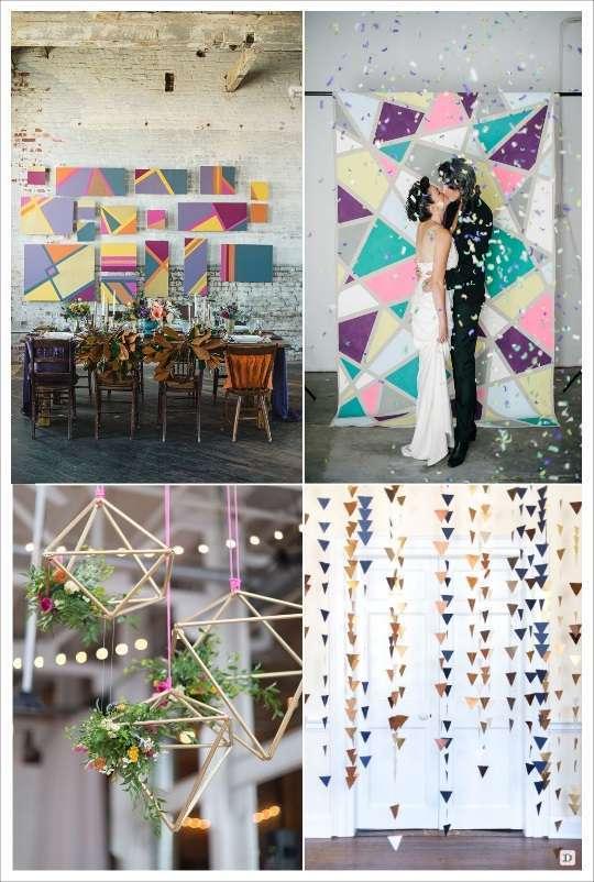 decoration mariage geometrie decoration de salle toile motifs geometriques guirlande triangles polygone en 3D