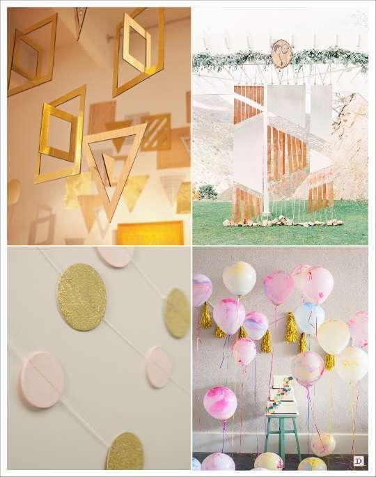 decoration mariage geometrie decoration de salle toile motifs geometriques guirlande pois ballons transparent peints suspensions geometrique arriere plan rubans