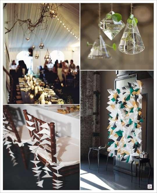 decoration mariage geometrie decoration de salle terrarium geometrique suspendus vase polygone suspendus guirlande de triangles