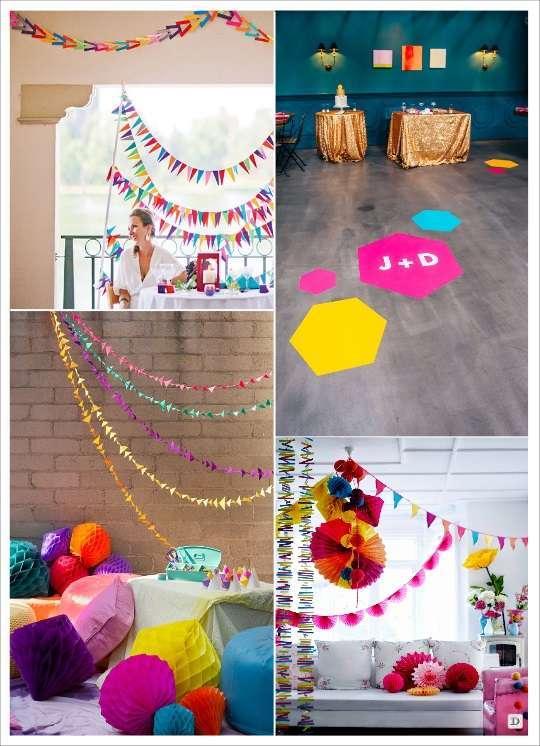 decoration mariage geometrie decoration de salle sticker au sol polygone suspension en papier alvéolé gurilande