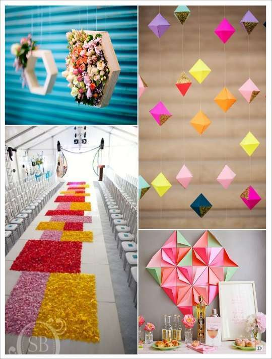Mariage theme geometrique id es d co for Decoration murale origami