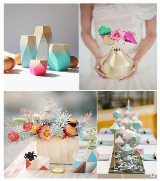 decoration mariage geometriecentre de table photophore polygone fleur geometrique en carton vase en bois peinture motif triangle