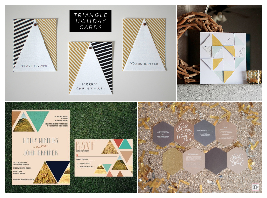 decoration mariage geometrie faire part or triangle hexagone