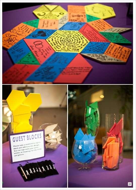 decoration mariage alternative livre d'or puzzle forme geometrique
