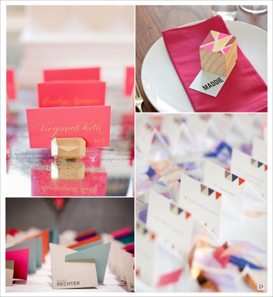 decoration mariage marque place porte nom cube motif geometrique plexiglas