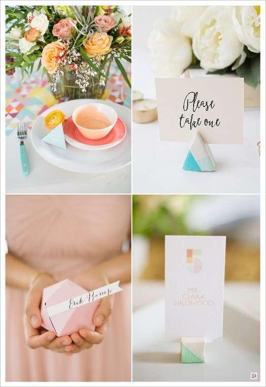 decoration mariage geometrie marque place triangle polygone en carton cube en bois peint