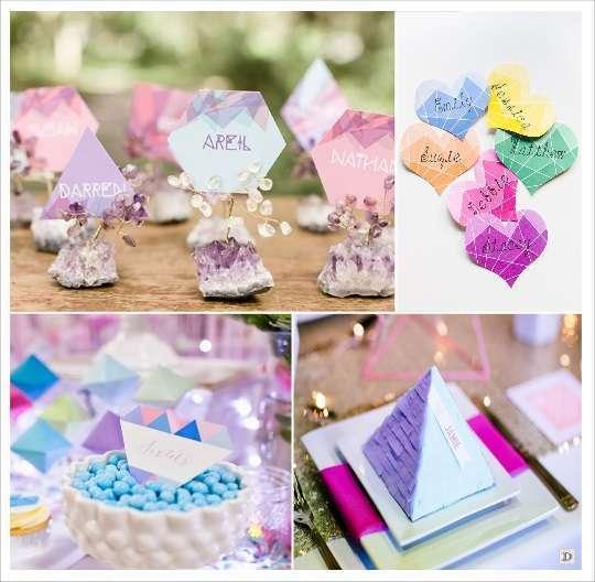 decoration mariage geometrie marque place coeur à facettes carton diamant pyramide