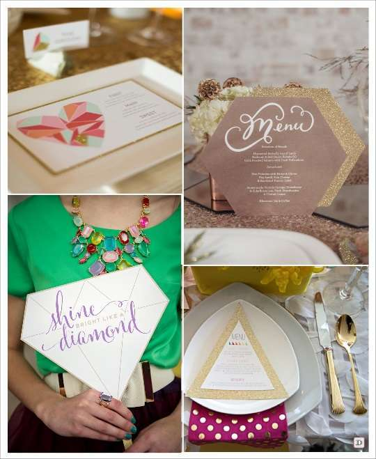 decoration mariage geometrie menu hexagone menu sur batonnet triangle