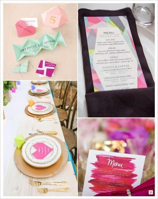 decoration mariage geometrie menu origami coeur motifs cubisme