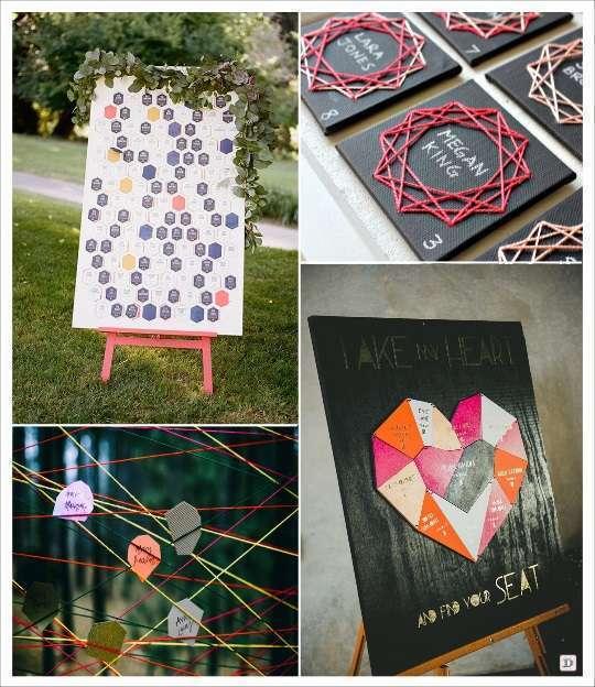 decoration mariage geometrie plan de table polygone en stitching carte hexagone carte sur fil coeur en puzzle