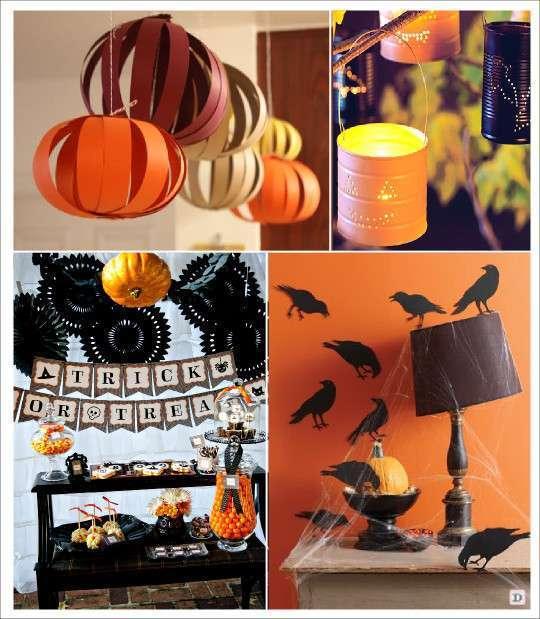 decoration halloween citrouille a suspendre photophore boite de conserve sticker corbeau rosace en papier
