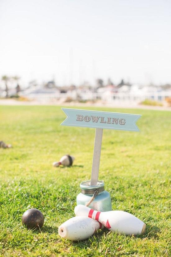 jeu de mariage en plein air quilles