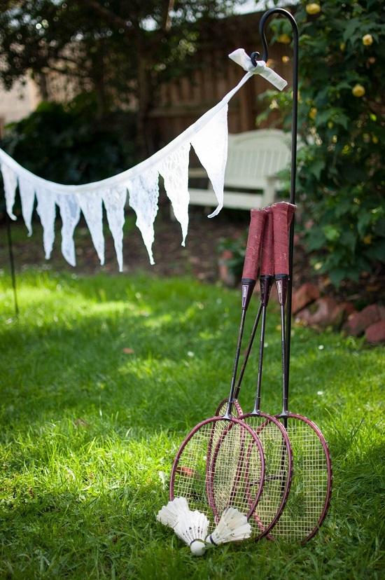 jeu badminton mariage plein air