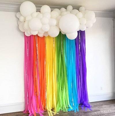arriere plan rideau de ruban arc en ciel deco anniversaire licorne