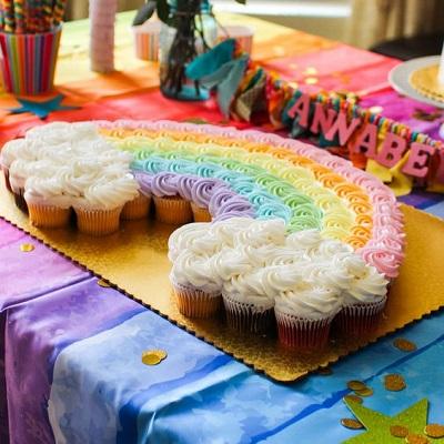 cupcake couleur arc en ciel deco anniversaire candy bar