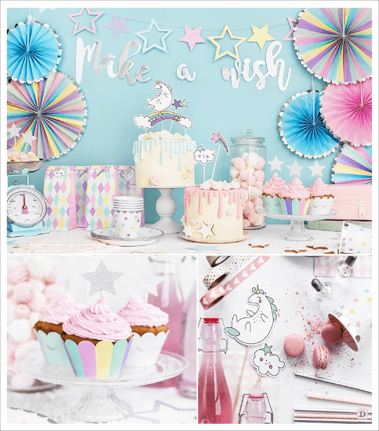 decoration anniversaire licorne candy bar caissette cupcake cake topper