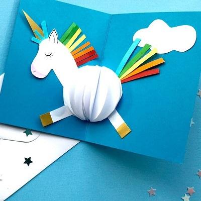 carton invitation anniversaire licorne diy papier alveole
