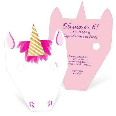 carte invitation anniversaire licorne masque