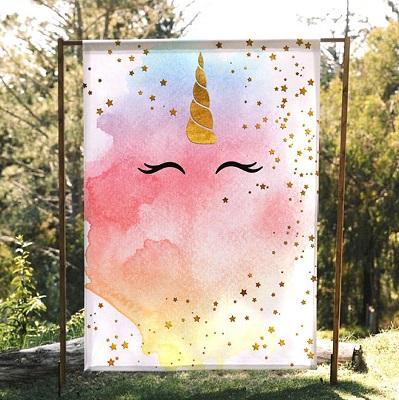 toile arrière plan licorne pour photobooth candy bar