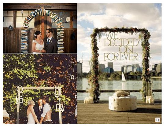 decoration mariage lieu cérémonie portique lettre slogan cadre arche de livres