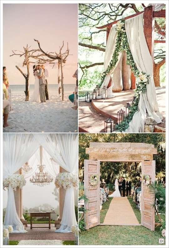decoration mariage lieu cérémonie portique voilage arche branchages lustre