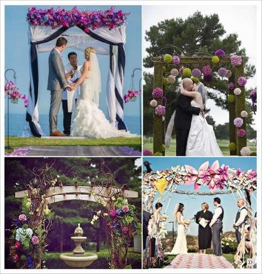 decoration mariage lieu cérémonie portique fleuri boules de fleurs, fleurs en papier