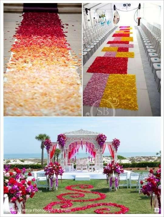 decoration mariage lieu cérémonie sol pétales formes géométrique arabesque nuance