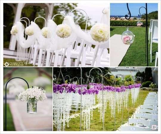 decoration lieu ceremonie allée crochet boule de fleurs vase boule en verre ouverte guirlande de pampille