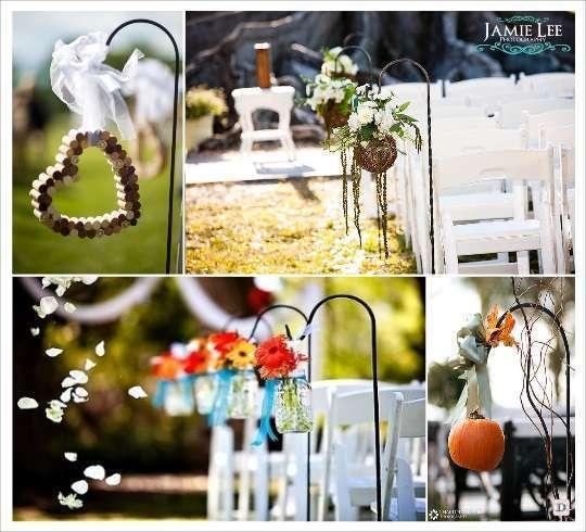 decoration lieu ceremonie allée crochet mason jar citrouille boule de rotin