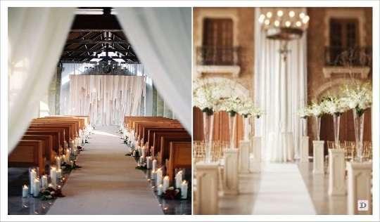 decoration lieu ceremonie allée bougies piedestal vase