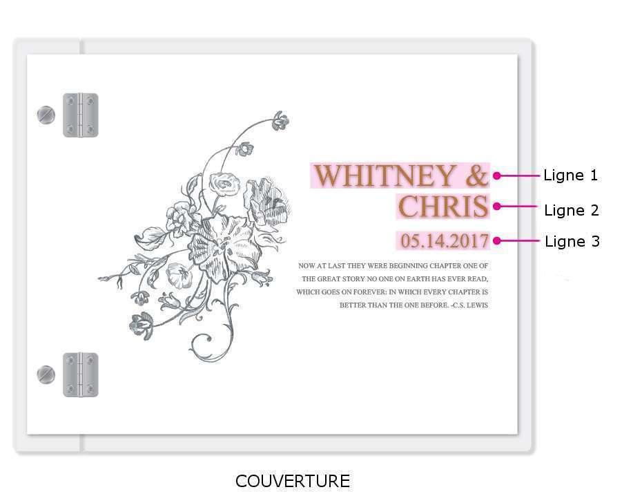 livre d'or mariage personnalisé fleur