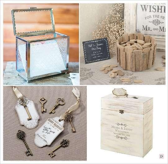 livre d'or mariage urne coffre en verre clés pieces en bois