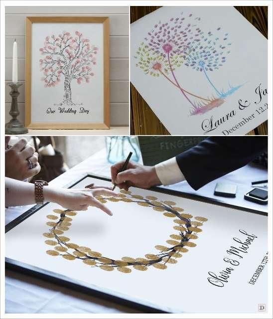 livre d'or toile à empreintes arbre couronne champêtre fleurs