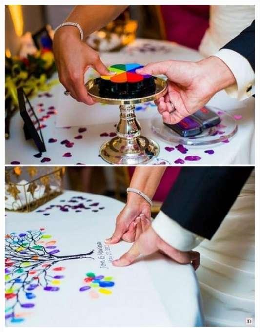 livre d'or mariage toile à empreintes