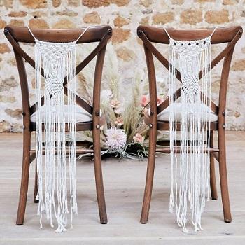 tenture macramé décoration chaise mariage