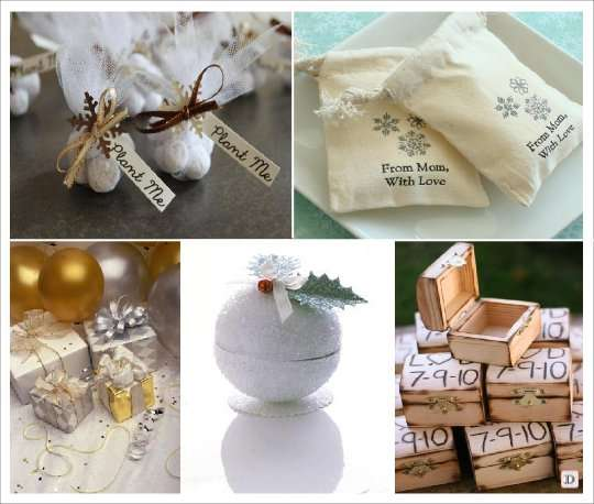 mariage hiver pochon dragees personnalise coffre