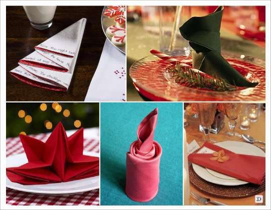 mariage hiver pliage serviette sapin etoile chandelle chaussure