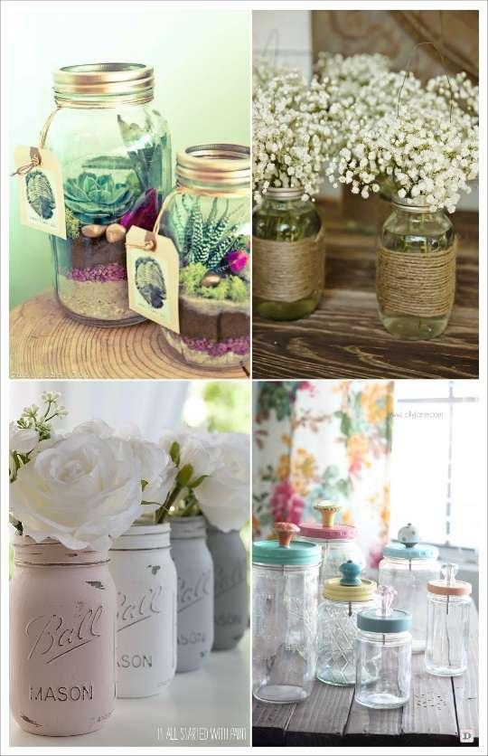 deco mariage mason jar terrarium vase peinture
