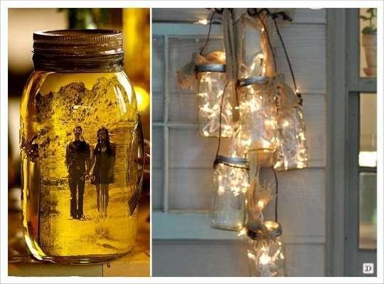 decoration mariage mason jar photo guirlande lumineuse