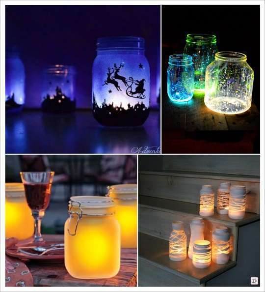 deco mariage mason jar photophore peinture fluo formes