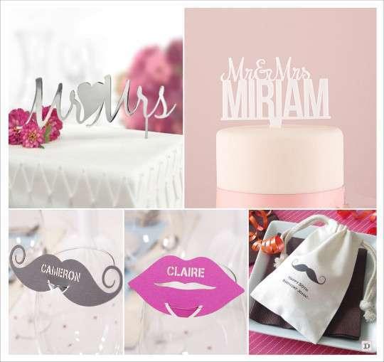 decoration_mariage_moustache_mrmrs figurine gateau en acrylique metal marque place moustache bouche pochon drages personnalises