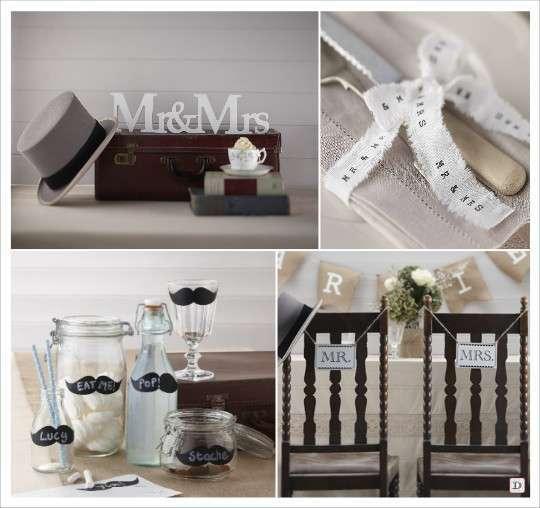 decoration mariage moustache mr & mrs ruban coton etiquette moustache ecriteau en bois