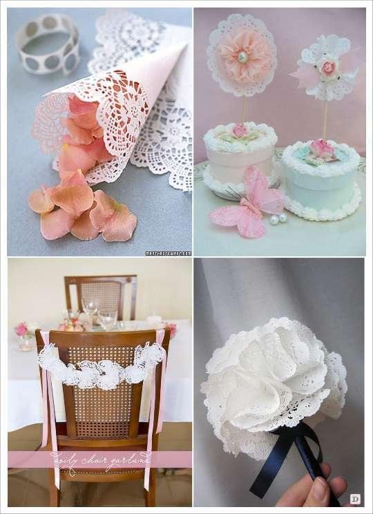 idées déco diy napperons dentelle papier cake topper cornet à confettis  bouquet decoration chaise