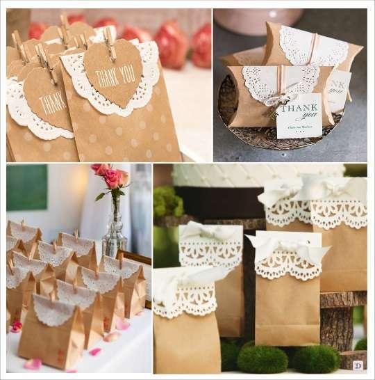 idées déco diy napperons dentelle papier cadeaux invités sachet à bonbons boites à dragées