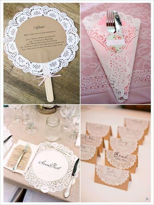 idées déco diy napperons dentelle papier menu pochette à couverts marque place