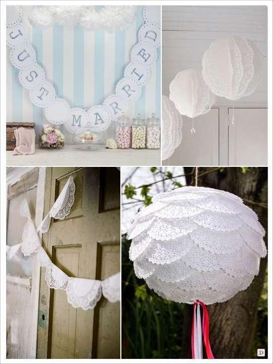 idées déco diy napperons dentelle papier lampion guirlande de fanions decoration salle