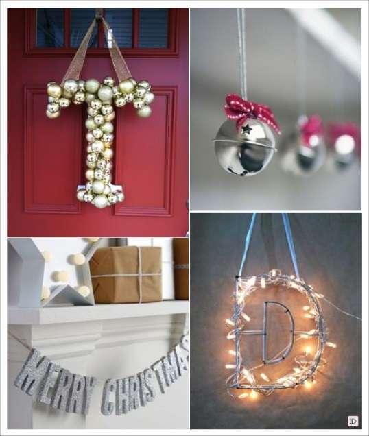 decoration noel a suspendre lettreen boule de sapin guirlande lumineuse grelot suspendu guirlande argent